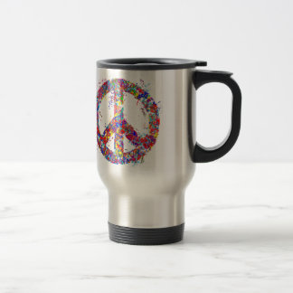 Peace Sign, Drip Art Travel Mug