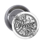 Peace Sign Filigree Art Pinback Buttons