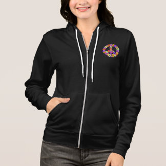Peace Sign Floral Cutout Hoodie