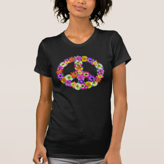 Peace Sign Floral Cutout on Turquoise Tees