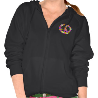 Peace Sign Floral Cutout Hoodies