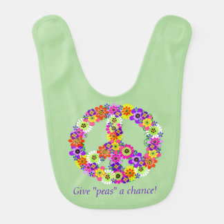 Peace Sign Floral - Give Peas a Chance Bib