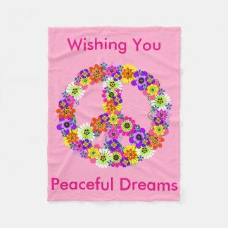 Peace Sign Floral in Baby Pink Peaceful Dreams Fleece Blanket