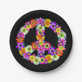Peace Sign Floral in Black 7 Inch Paper Plate