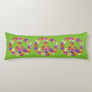 Peace Sign Floral in Green Body Cushion