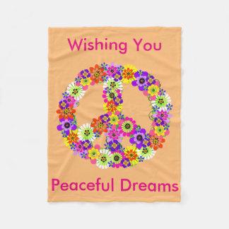 Peace Sign Floral in Peach Peaceful Dreams Fleece Blanket