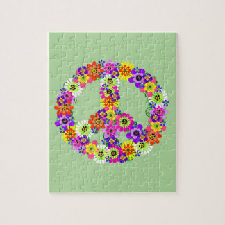 Peace Sign Floral Jigsaw Puzzle
