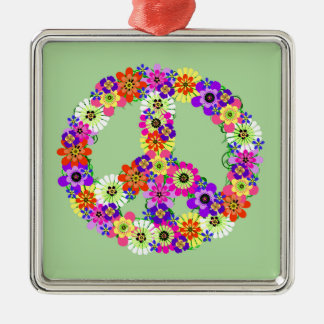 Peace Sign Floral Metal Ornament
