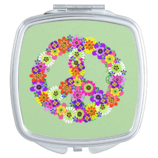 Peace Sign Floral Mirror For Makeup