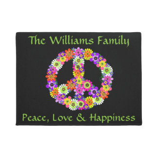 Peace Sign Floral on Black Customized Doormat