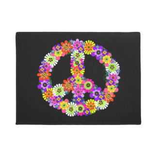 Peace Sign Floral on Black Doormat