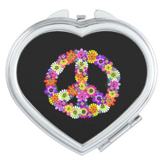 Peace Sign Floral on Black Mirror For Makeup