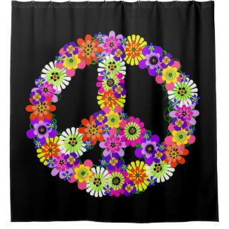 Peace Sign Floral on Black Shower Curtain