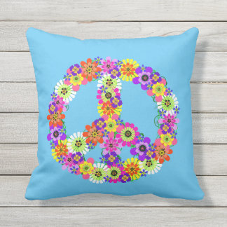 Peace Sign Floral on Blue Cushion