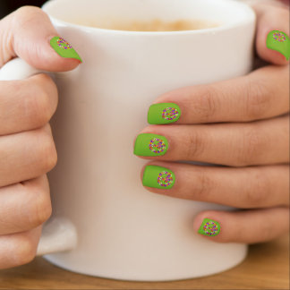 Peace Sign Floral on Lime Green Nails Stickers