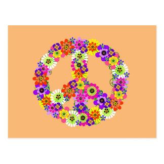 Peace Sign Floral on Peach Postcard