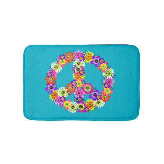 Peace Sign Floral on Turquoise Bath Mats