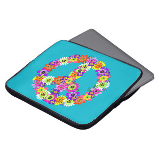 Peace Sign Floral on Turquoise Laptop Computer Sleeves