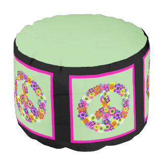 Peace Sign Floral with black & pink border Round Pouffe