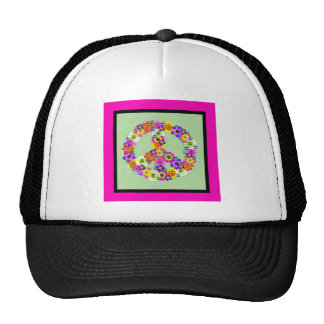 Peace Sign Floral with fuchsia & black border Cap