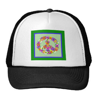 Peace Sign Floral with green & blue border Cap