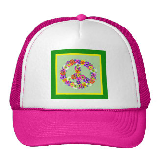 Peace Sign Floral with green & yellow border Cap
