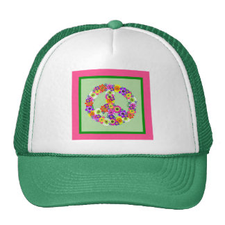 Peace Sign Floral with pink & green border Hats