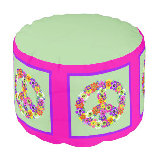 Peace Sign Floral with pink & purple border Round Pouffe
