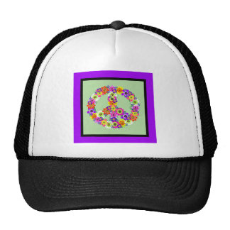 Peace Sign Floral with purple & black border Hat