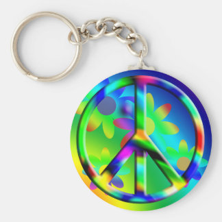 Peace Sign Flower Power Hippie Keychain