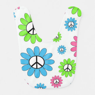 Peace Sign Flowers Bib