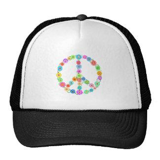 Peace Sign Flowers Cap