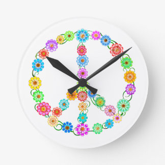 Peace Sign Flowers Wallclock
