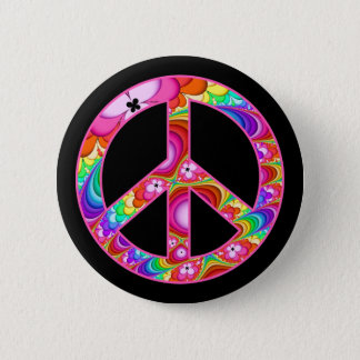 Peace Sign Fractal Groovy Trip 6 Cm Round Badge