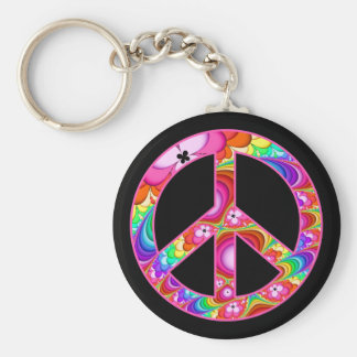 Peace Sign Fractal Groovy Trip Key Ring