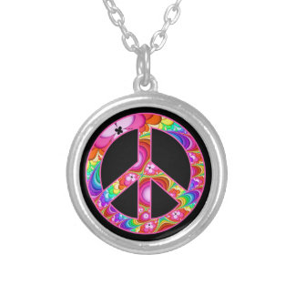 Peace Sign Fractal Groovy Trip Silver Plated Necklace