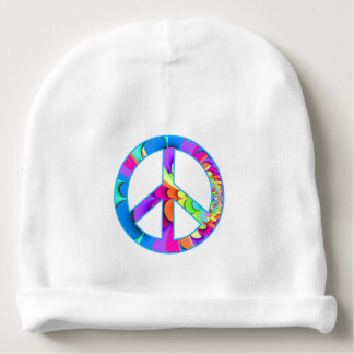 Peace Sign Fractal Summer Palette Baby Beanie