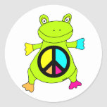 Peace Sign Frog Round Sticker