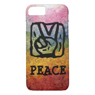 Peace Sign Hand with Bright Rainbow iPhone 7 Case