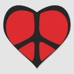 Peace Sign Heart Stickers