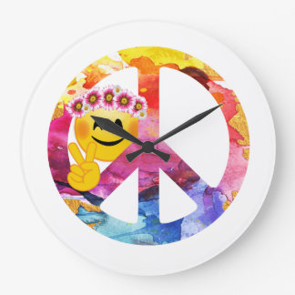 Peace Sign, Hippie Emoticon Watercolor Art Large Clock