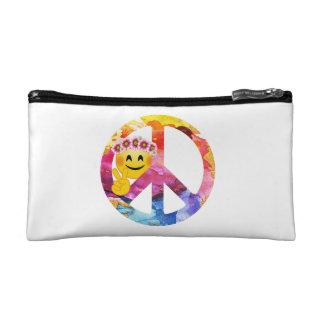 Peace Sign, Hippie Emoticon Watercolor Art Makeup Bag