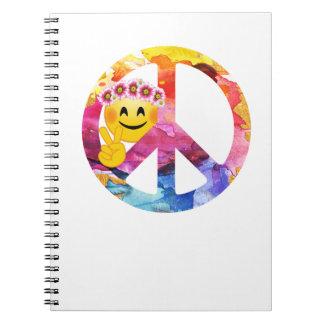 Peace Sign, Hippie Emoticon Watercolor Art Notebook
