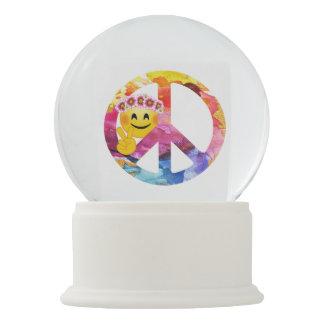 Peace Sign, Hippie Emoticon Watercolor Art Snow Globe