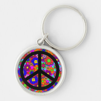 Peace Sign Hippy Retro Flowers Key Ring
