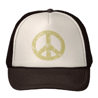 Peace sign light distressed trucker hats