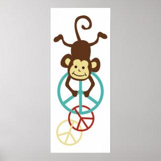 Peace Sign Monkeys Poster