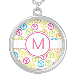 Peace Sign Monogram Necklace