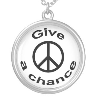 Peace Sign Round Pendant Necklace