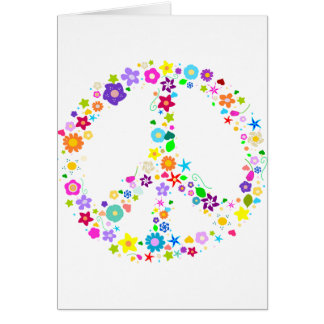 Peace sign of Flowers Greeting Card